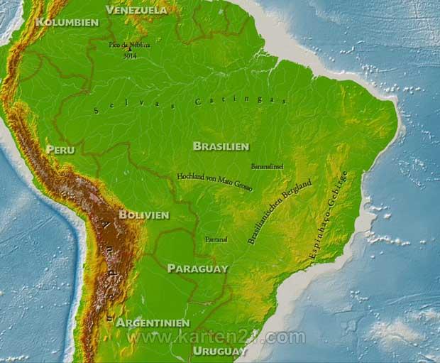 Karte Von Brasilien Karten21 Com